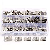 Aussel 90 Stück Vinylbeschichtete Kabelschellen, 304 Edelstahl Rohrschellen, Drahtseil-Montage-Rohr-Clips Sortiment Kit 5 Größen 6 mm - 16 mm