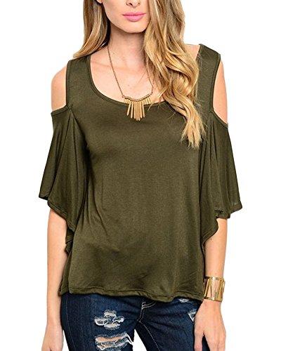 Qitun Donna Bluse a Mezza Manica V-Neck T-Shirt Sciolto Lunga Camicia Camicetta Tunica Tops Verde
