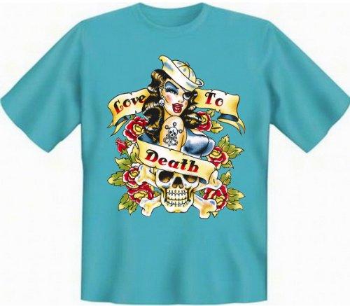 T-Shirt - Love to Death - zu Tode Lieben T-Shirt Tag der Toten Blumen Skull Dia de Los Muertos Girl Gr. XL : (Death The Kid Girl Kostüm)