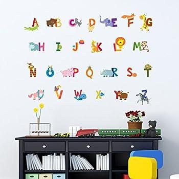 Decowall DA-1503A Anglais Alphabet Animaux Autocollants Muraux Mural Stickers Chambre Enfants Bébé Garderie Salon