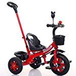 FJ-MC Kids Tricycle, Adjustable Seat Children 3 Wheel Pedal Bike, with Removable Parents Push Handle Bar and Basket, for 1-6 Years Kids and Toddlers - 90-120 CM,Red
