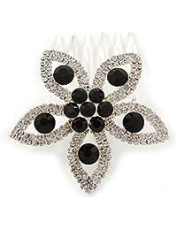 // boda/despedida de rodio de la fiesta de graduación en claro/Negro peine del pelo de la flor de cristal austriaco - lado de 55 mm W