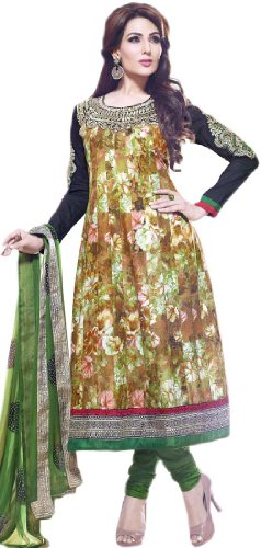 Exotic India Floral Printed Flared Kameez and Choodidaar Suit with Metallic Thre...