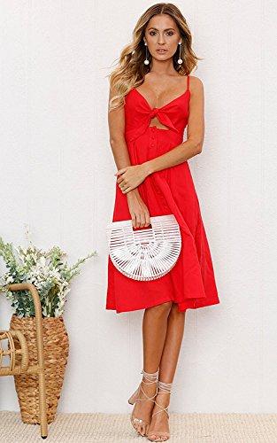 Tomwell Femmes D'été Casual élégant Sans Manches Midi Robe de Plage Chic Col V Profonde Dos Nu Loose Robe à Bretelle Rouge