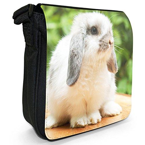 Peluche conigli Borsa a spalla piccola di tela, colore: nero, taglia: S Nero (Cute Lop Rabbit)