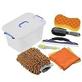 DEDC Kit di Strumenti di Lavaggio Auto Kit Pulizia Auto Autolavaggio Guanto Spugna per Pulizia Auto Spazzola di Ruota Auto Parabrezza Cleaner con Contenitore di Plastica Marrone