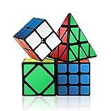 ROXENDA Ensemble Speed Cube, 2x2x2 3x3x3 Skew Pyramid Vitesse Cube de Magique; Facile à Tourner et à Lisser (Noir)