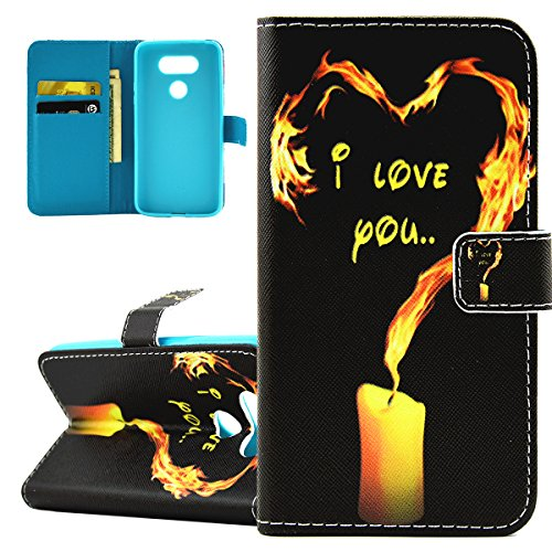 ISAKEN Accessories Cover Per LG G5 PU Pelle Portafoglio Custodia, Elegante borsa Drawing Pattern Design in Sintetica Ecopelle Libro Bookstyle Wallet Flip Portafoglio Case Cover Anti Slip Case Copertur fire cuore