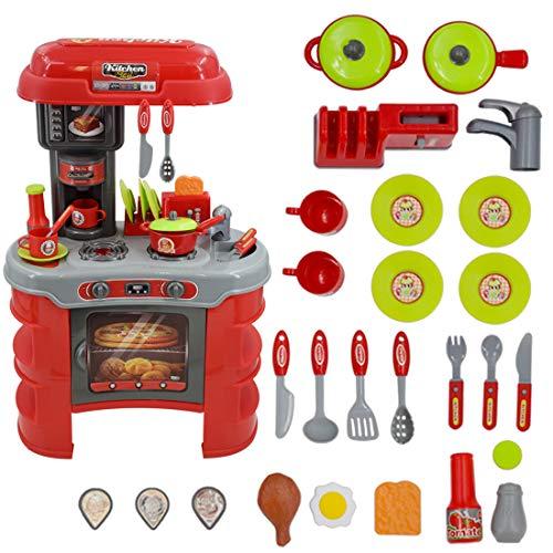 deAO Modernes Küchenspielset mit Lichtern und Geräuscheffekten ,Küchen & Essen- Spielzeug für Kleinkinder, Zubehör beinhaltet