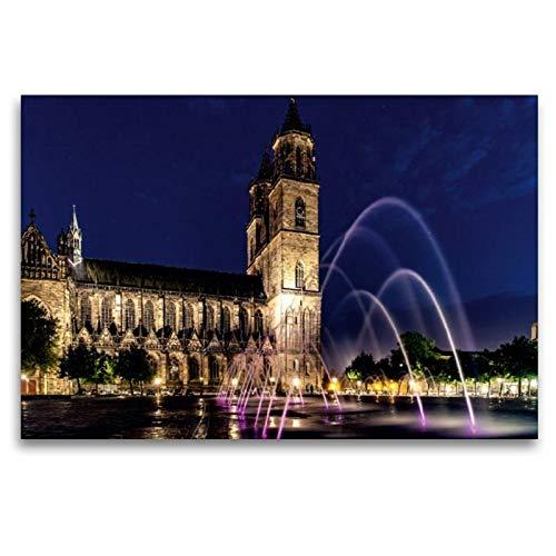 Calvendo Premium Textil-Leinwand 120 cm x 80 cm quer, Sommernach am Domplatz | Wandbild, Bild auf...