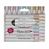Papermania Metallic Pens - Rotulador permanente (con punta redonda, 0.5 mm, 8 unidades), multicolor
