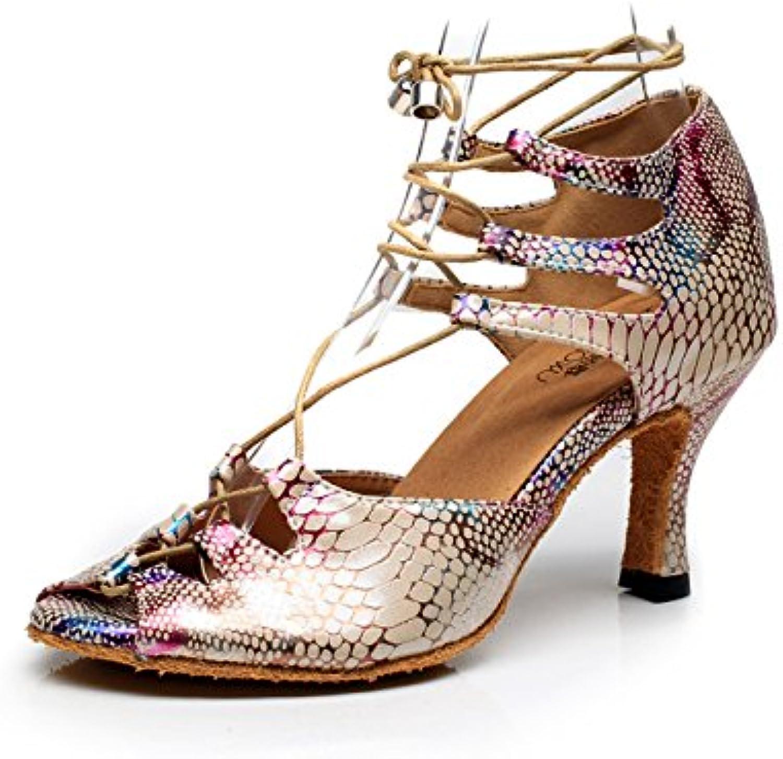 JSHOE Closed Femmes Closed JSHOE Toe Talon Haut PU Cuir Paillettes Salsa Tango Ballroom Chaussures De Danse Latine,D-heeled7.5cm-UK7.5...B0794MBNLQParent 7d8904