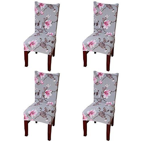 Jian Ya Na Silla de la Cubierta del Protector de Fundas, Cubre [4-Pack] Estiramiento extraíble Lavable Silla del Spandex para la Boda Comedor Decoración de Flor Rosa