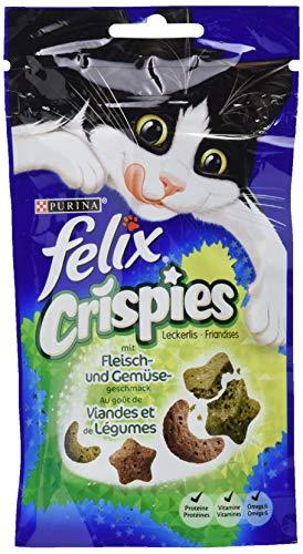 Felix Crispies Katzensnack, Fleisch und Gemüsegeschmack, 8er Pack (8 x 45 g)