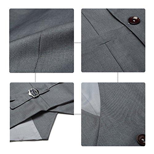 Zweireiher Business Causal Herren Anzugweste Anzug Revers Kragen Slim Fit Schwarz