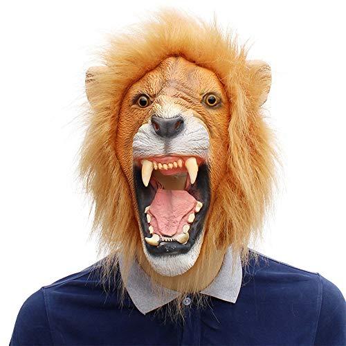 XIAOMAN Lion Head Maske Realistische Latex Gesichtsmaske Halloween Cosplay Kostüm Weihnachtsfeier Rollenspiel Spielzeug ( Color : Brown , Size : One Size ()