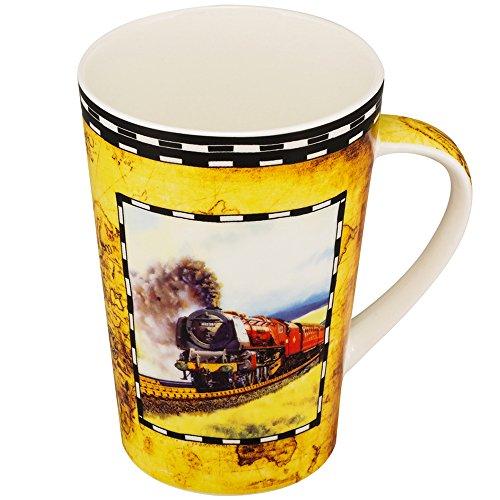 mallvoler treno 482Coffee Mug New Bone China Tazza da tè regalo per ragazzo marito papà e nonno Yellow