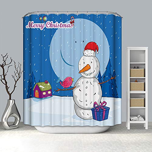Mitlfuny Weihnachten DIY Home Decor 2019,Weihnachtsgeschenkboxen Im Schnee Bad Duschvorhang Wasserdichtes Gewebe & 12 Haken
