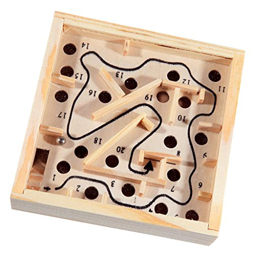 MagiDeal Holz Labyrinth Puzzle Balance Board Perle Labyrinth Geschicklichkeit Spielzeug