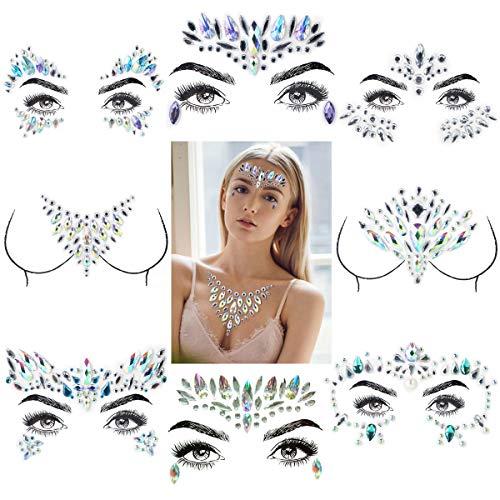 (BigBig Style Glitzernde Strass Gesicht/Brust Edelsteine Aufkleber Gesicht Kunst Juwelen für Gesicht/Brust / Körper Dekorationen (UnitCount : 6 Sheets face+2 Sheets Chest))