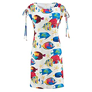 Alba Moda Damen Jerseykleid Weiss-bunt