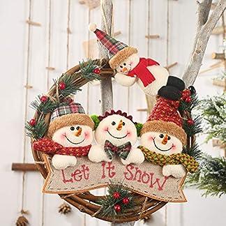 Ajboy Corona de Navidad, muñeco de Nieve y Ciervo, Adorno para decoración de la Puerta de la Pared, Let It Snow, 29 * 29CM