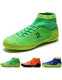 AKALI Boy Hombres Zapatos de fútbol Profesional AG/TF Botas de fútbol,Azul,Verde,Naranja