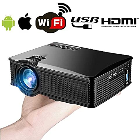Wireless Wifi iPhone Android Portable Mini Video Projector 1500 Lumen- Support 1080P Full HD WiFi Airplay Miracast- Portable Home Theater Movie Projector with HDMI USB SD VGA for Home Outdoors Movie Game
