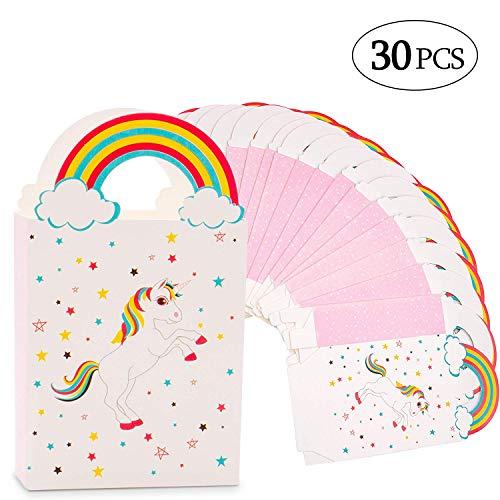 MMTX Bolsas de Regalo de Unicornio de Papel Favor de Fiesta Bolsas de Regalo de Caramelo Adorable con Asas Suministros de Fiesta de cumpleaños a Granel Paquete de 30