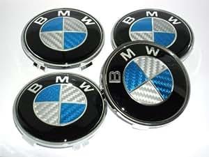 4 BMW Blue Bleu Carbon Fibre Alloy Wheel Centre Caps Hub Cover Badges Emblem / 4 CENTRES ROUES CACHES JANTES BMW (68mm diamètre)