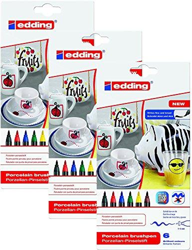 3er Pack edding 4-4200-6 Porzellan-Pinselstift edding 4200, 1 - 4 mm, sortiert