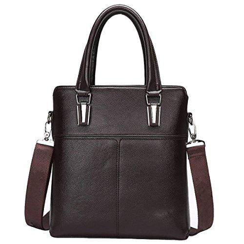 Herren Leder Aktentasche Handtasche Schulter Messenger Casual Rucksack Computer Tasche Brown1