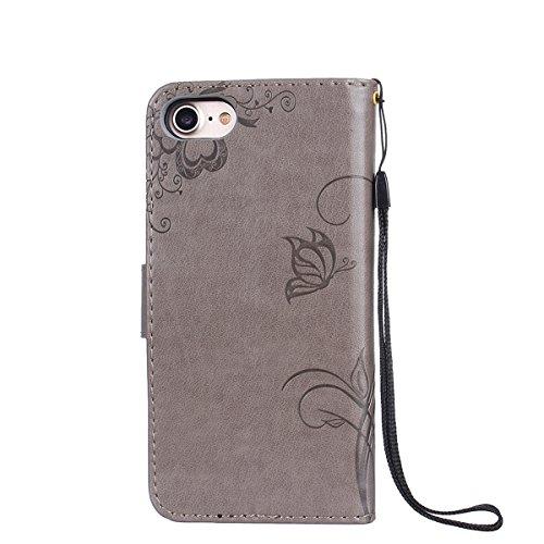 FESELE Custodia In Pelle Per iPhone 7, Retro Fiore farfalla Modello Design Cover Wallet Case Custodia In Pelle Portafoglio Lusso Libro Flip Cover Protettiva Con Cinturino Con Con Cinturino da Polso Su farfalla,grigio