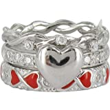 STACK RING CO 925 Sterling Silver Rhodium Plated PRIMA Crescent Stack Ring Set