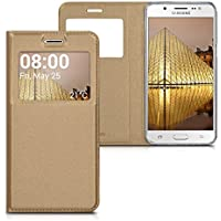kwmobile Funda para Samsung Galaxy J5 (2016) DUOS - Case estilo libro de cuero sintético con ventanilla - Flip Cover plegable dorado