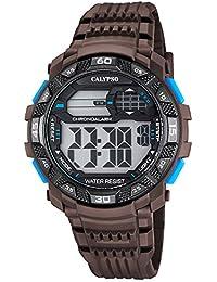 054e9012d022 Hombre-reloj Calypso PU-pulsera deporte digital colour marrón y negro  cuarzo-reloj