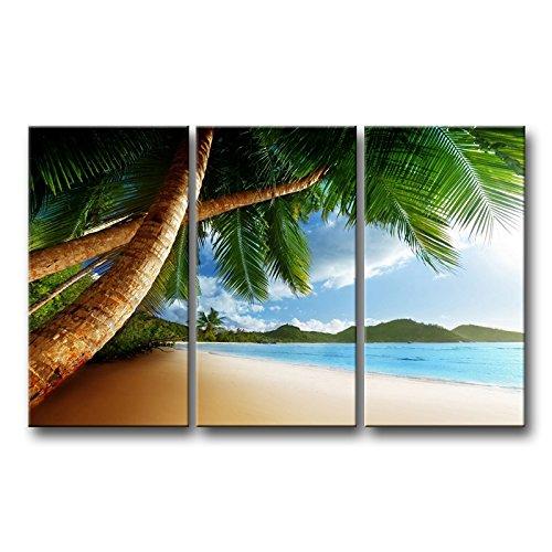 3Stück Wand Kunst Bild Strand Karibik mit Palme und mountain Bilder Prints auf Leinwand Seascape der Decor Öl für Home Moderne Dekoration