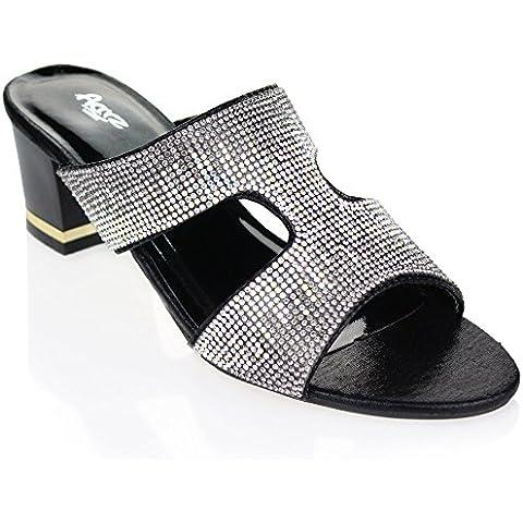 Aarz señoras de las mujeres de la tarde Comfort Slip-El Diamante Bloque del talón del banquete de boda de la sandalia tamaño de los zapatos (Negro, Oro, Rojo)