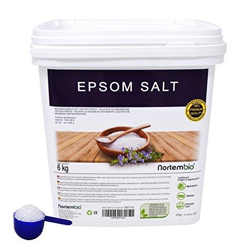 Sale di Epsom NortemBio 6 Kg, Fonte Concentrata di Magnesio, Sale Naturale al 100%. Bagno e Cura Personale.