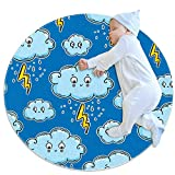 TIZORAX Shaggy Area Tappeto Illuminazione Nuvole di Pioggia Tappeto Rotondo Tappetino per Soggiorno Camere da Letto Bambini Nursery Home Decor