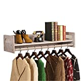 LQQ-Garderobenständer Weinlese-Wand-hölzerner Ausstellungsstand-Regal-Kleiderständer-Aufhänger für Bekleidungsgeschäft der Kinder für Schlafzimmer Wohnzimmer (Farbe : A, größe : 120cm)