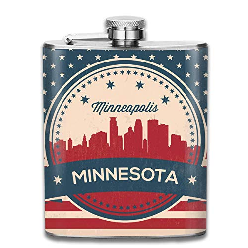 Stainless Steel Leak-Proof Hip Flask American Flag Minnesota State Minneapolis Skyline Art Decoration Flagon Whiskey Container Flask Pocket for Unisex -