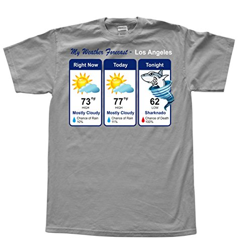 JeKAt Sharknado Weather Forecast Grau T-Shirt, Größe M