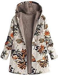 Abrigos Mujer Invierno,Floral Estampado Calentar Chaquetas Capa Parkas Mujer Invierno de Bolsillos con Capucha