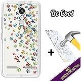 Becool® - Funda Gel Flexible para Lenovo K6, [ +1 Protector Cristal Vidrio Templado ], Carcasa TPU fabricada con la mejor Silicona, protege y se adapta a la perfección a tu Smartphone y con nuestro exclusivo diseño. Huellas coloridas de Perro .