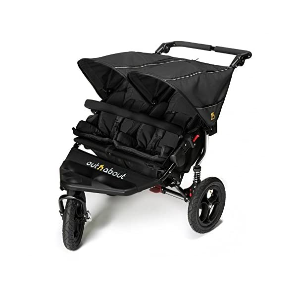 Out 'N' About Nipper Double V4 - Raven Black  LATEST V4 MODEL Twin independant sun canopy's & peek-a-boo window & auto-locking fold NARROW 72cm WIDTH! All-terrain 3-Wheeler pushchair, suitable for use from Birth to 4 years (approx) Independent Multi-position adjustable backrest, including lie flat with 5-Point Safety Harness 1
