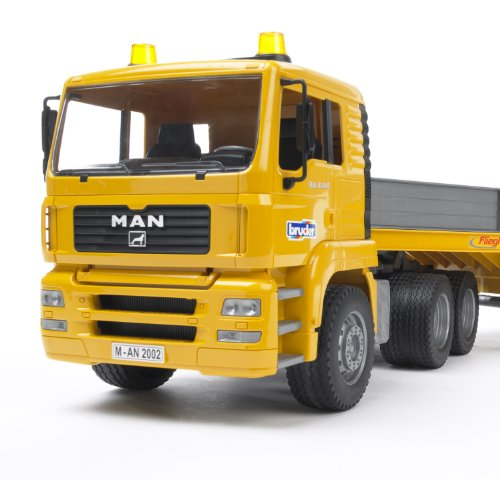 Image of Bruder MAN TGA Low Loader Truck with JCB 4CX Backhoe Loader