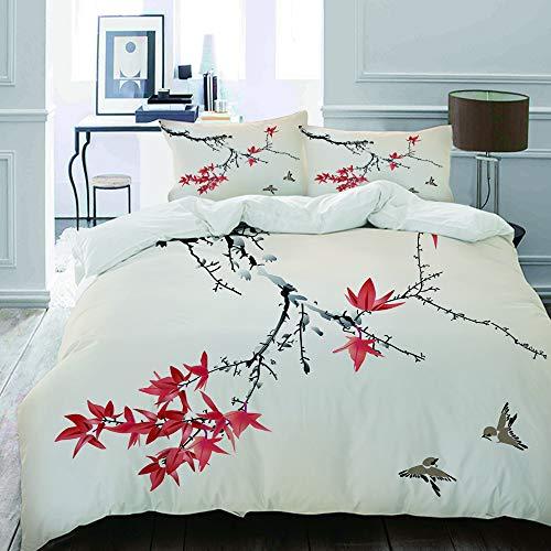 MIGAGA Bettwäsche-Set, Mikrofaser,Cherry Blossom Sakura Tree Branches-Romantisches Frühlings-themenorientiertes Aquarell-Bild,1 Bettbezug 200 x 200cm+ 2 Kopfkissenbezug 80x80cm -