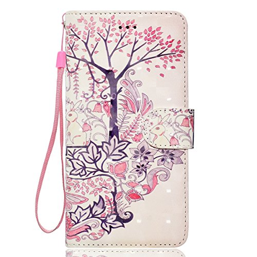 iPhone 6/6S Leather Case,iPhone 6/6S Coque Portefeuille,Hpory élégant Fashion 3D Design Colorful Painted with Lanyard PU Cuir Case Book Style Folio Stand Fonction Support PU Leather Walllet Case with  Lapin