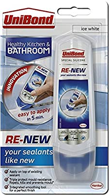 UniBond Re-New Silicone Sealant / White sealer for bathroom, kitchen, sink or shower / Triple protect mould resistance / 1 x 100ml